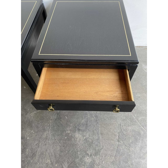 Mid-Century Modern American of Martinsville MCM Ebony Side Tables With Brass Inlays and Pulls For Sale - Image 3 of 13