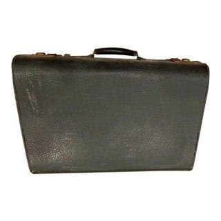 Antique Walrus Black Leather Salesman Suitcase For Sale