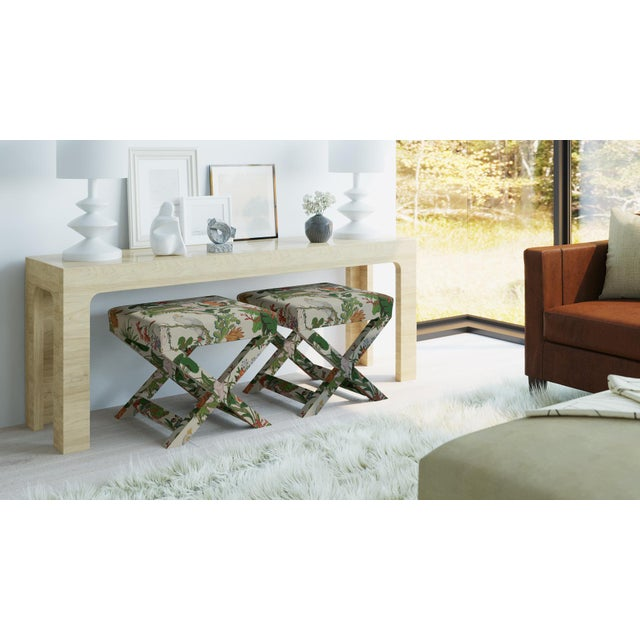 Not Yet Made - Made To Order X Bench In White Cinque Terra By Old World Weavers For Sale - Image 5 of 7