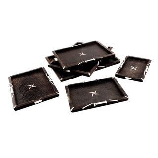 Vintage Mid-Century Art Deco Inspired Marquetry Trays - Set of 6