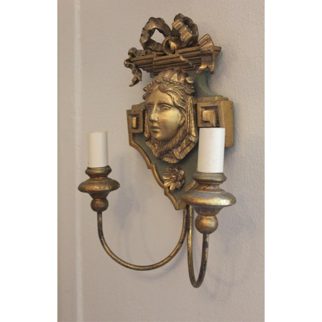 20th Century Neoclassical Wooden Double-Arm Sconce For Sale In New York - Image 6 of 6