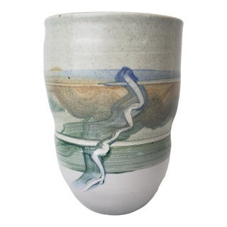 Late 20th Century Studio Pottery Wide Mouth Vase For Sale