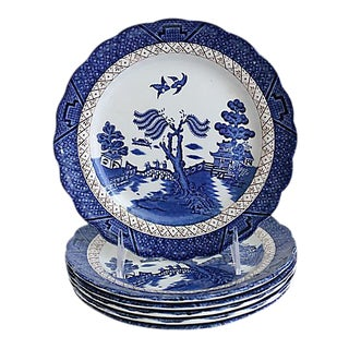 Vintage English Willow Plates, S/6 For Sale