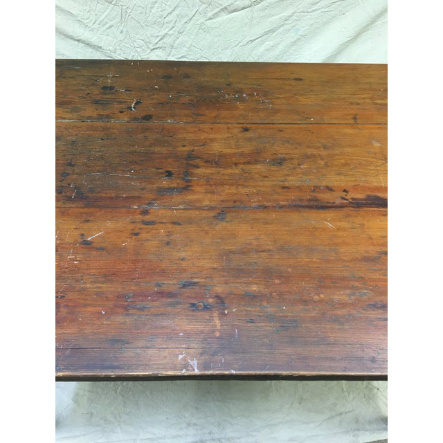 Early 20th Century Vintage Rustic Hand Made Farm Table For Sale - Image 5 of 11