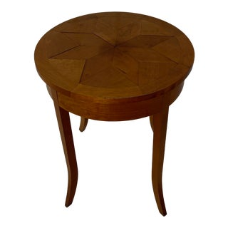 1980s Nierman Weeks Round Parquet Side Table For Sale