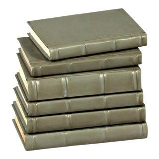 Sarreid LTD Antique Grey Books - Set of 6 For Sale