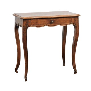 French 1870s Louis XV Style Oak Side Table with Single Drawer and Cabriole Legs