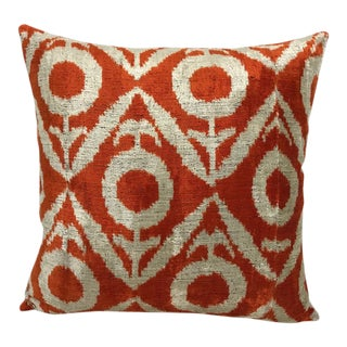 Large Silk Velvet Ikat Pillow in Color Squash For Sale