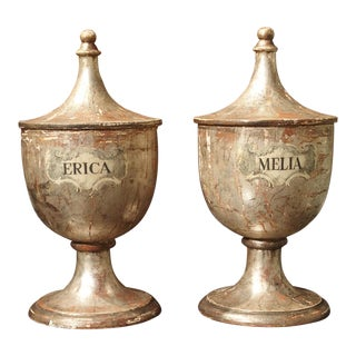 Pair of Silvered Wooden Herb Containers From Italy, Circa 1930 For Sale