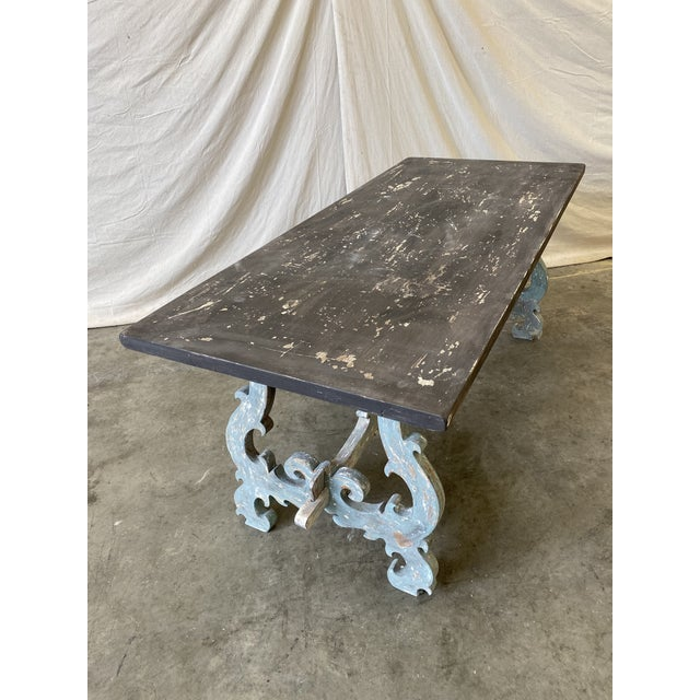 Paint Tuscan Painted Trestle Dining Table For Sale - Image 7 of 13