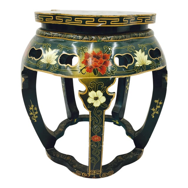 Vintage Asian Lacquered Side Table - Image 1 of 8