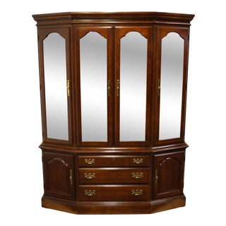 American Drew Solid Cherry Traditional Style Illuminated Breakfront China Cabinet For Sale