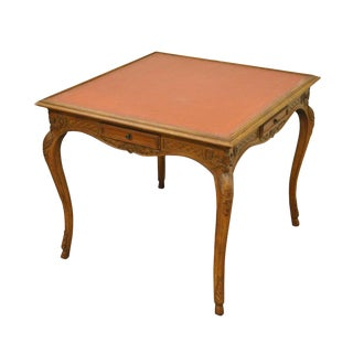 1950s French Louis XV Style Leather Top Hand Carved Walnut Game Table For Sale