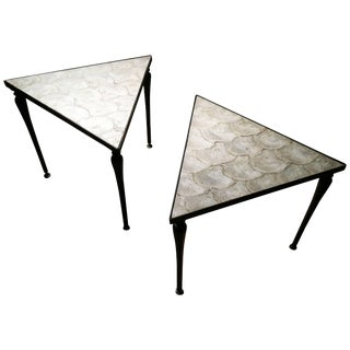 Vintage Designer Iron & Capiz Shell Triangle Tables Hollywood Regency For Sale
