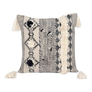 18x18 Inch Square Tribal Embroidered Tasseled and Pom Durable Geometric Cotton Pillow For Sale