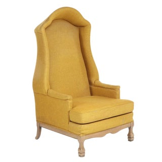 Vintage Mid-Century Porter's Chair in Mustard Wool Upholstery on a Limed Wood Base For Sale
