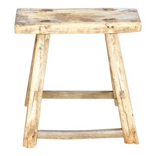 Antique Bleached Wood Stool For Sale