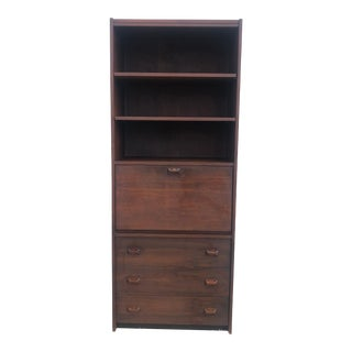 Mid Century Drop Front Shelving Unit With Three Drawers For Sale