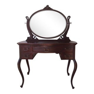 1920s Antique John Widdicomb Dark Wood Vanity For Sale