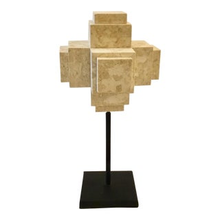 Large Modern Beige Marble Cube Sculpture on a Metal Stand For Sale