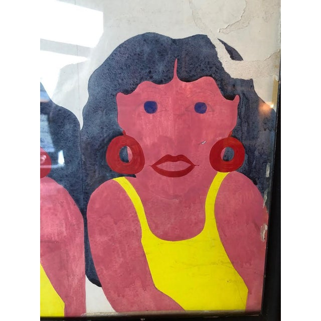 1980s Yellow Swimsuit Sisters Painting on Paper For Sale - Image 5 of 11