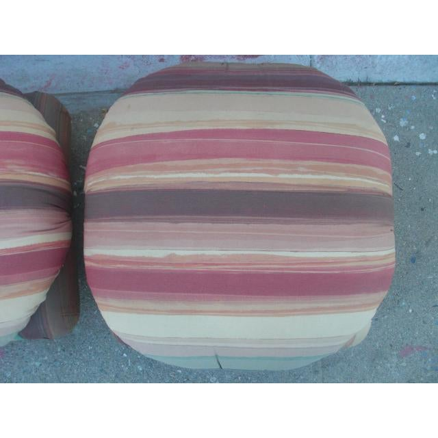 Brown 1980s Vintage Upholstered Poofs- A Pair For Sale - Image 8 of 13