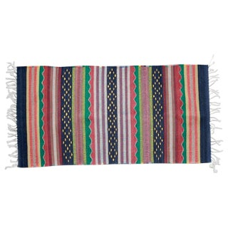 Mexican Pedal-Loom Striped Rug - 2′7″ × 4′10″ For Sale