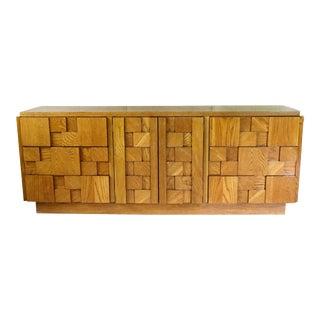 1980s Brutalist Lane Staccato 9 Drawer Dresser For Sale