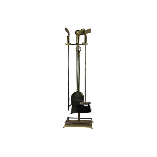 Golf-Themed Solid Brass Fireplace Tools For Sale