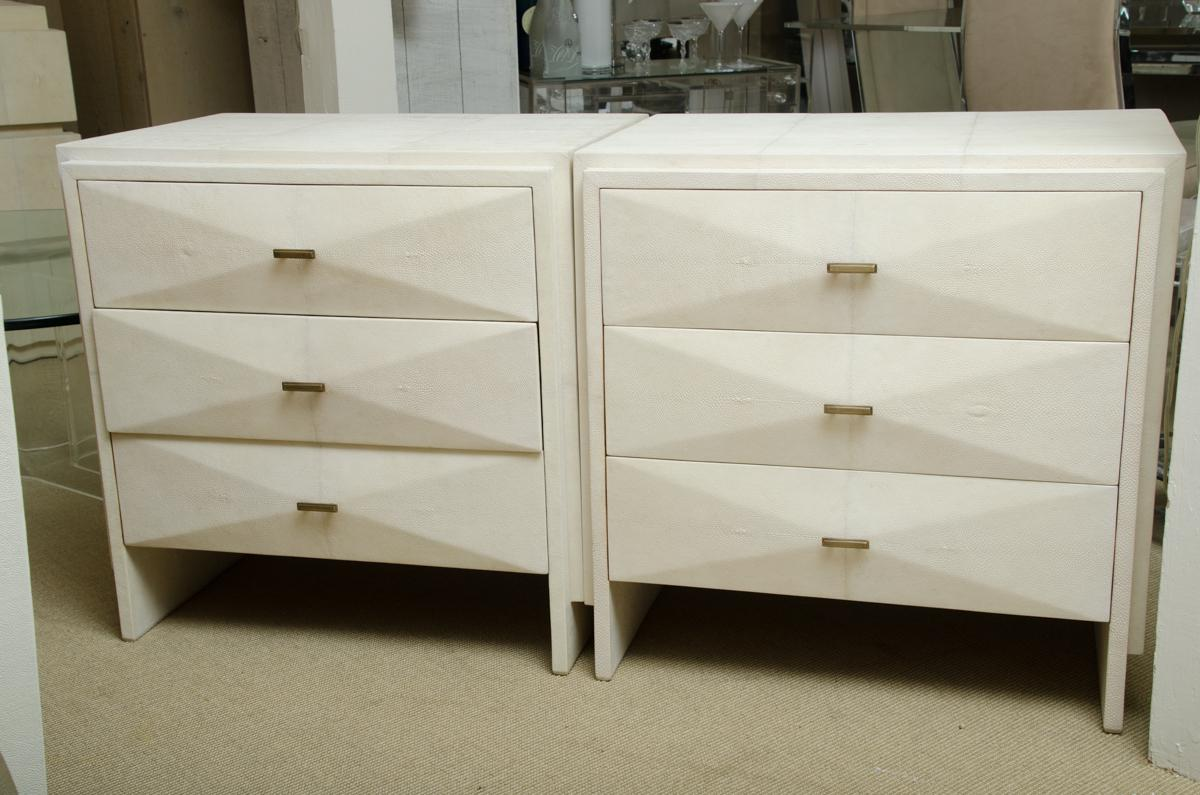 Animal Skin Pair Of White Shagreen 3 Drawer Nite Stands With Bronze Drawer  Pulls For Sale
