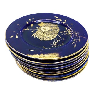 Vintage Mid-Century Hand Made China Round Plates With Gold Hand Painted Rims and Design - Set of 10 . For Sale