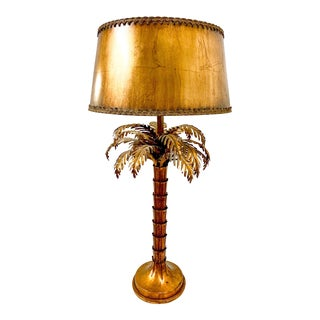 Hollywood Regency Italian Tole Palm Tree Lamp For Sale