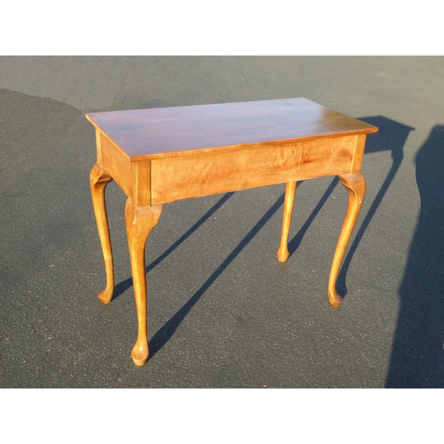 Brown 1970s Queen Anne Birch Wood Cedar Lined Two Drawer Writing Desk With Leaf Inlay For Sale - Image 8 of 13