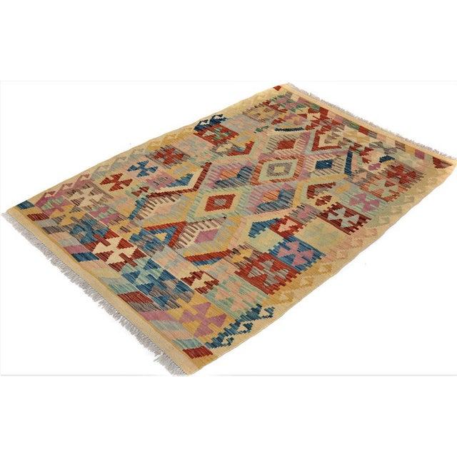 Textile Arya Edmond Beige/Blue Wool Kilim Rug - 3'3 X 4'11 A9216 For Sale - Image 7 of 7