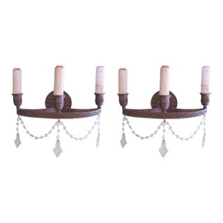 "C1914 Antique Authentic e.f. Caldwell Beautiful "" Northwind"" 3 Light Bronze Sconces - a Pair For Sale"