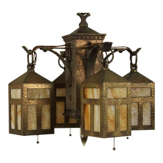 Antique Arts and Crafts Hammered Iron & Slag Glass Chandelier For Sale