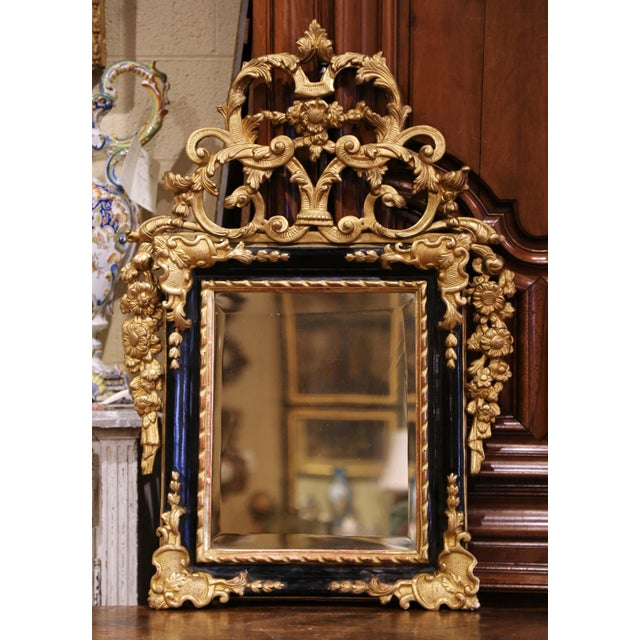 18th Century French Louis XV Carved Giltwood and Blackened Mirror From Provence For Sale - Image 13 of 13