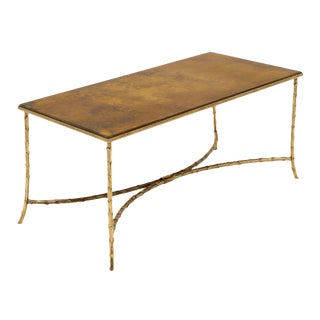Maison Charles Gold Leaf Glass Top Brass Coffee Table For Sale