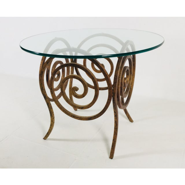 Gold Scroll Wrought Iron & Glass Coffee Table For Sale - Image 8 of 8