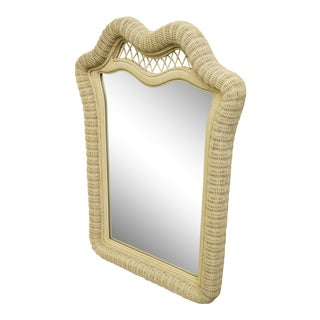 Pennsylvania House Cream / Off White White Wicker Dresser / Wall Mirror For Sale