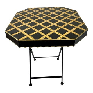 20th Century Bamboo Trellis Painted Tole Folding Table For Sale