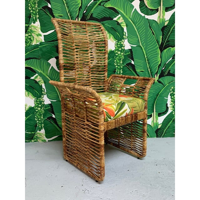 1970s Rattan Jute Rope Wrapped Dining Chairs, Set of 6 For Sale - Image 5 of 13