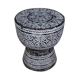 Folk Art Black Balinese Drum Accent or Side Table For Sale