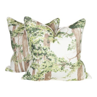 Custom Green Woodland Pillows, a Pair For Sale