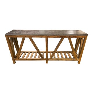 Crate & Barrel Bluestone Console Table For Sale