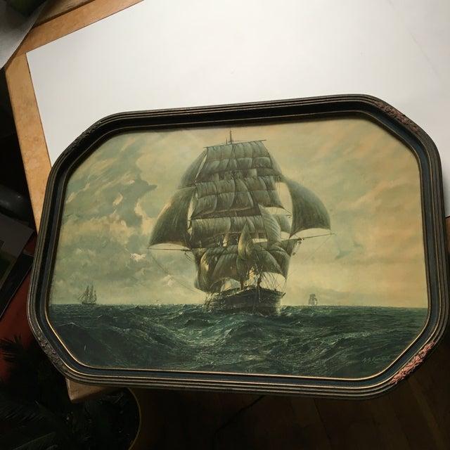 Paper Antique Framed Ship Print For Sale - Image 7 of 11