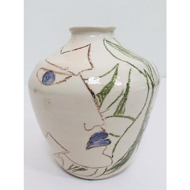 Postmodern Vase With Abstract Head Portraits Figures in Jean Cocteau Style For Sale - Image 11 of 11