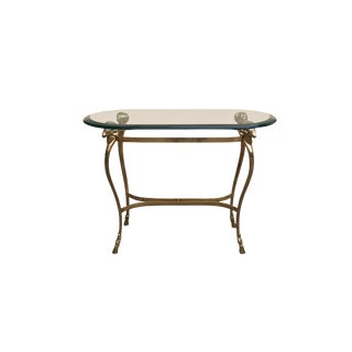 Maison Jansen Style Solid Brass and Beveled Glass Hall Table For Sale