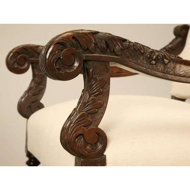 Hand-Carved French White Oak Throne Chairs - A Pair - Image 4 of 11