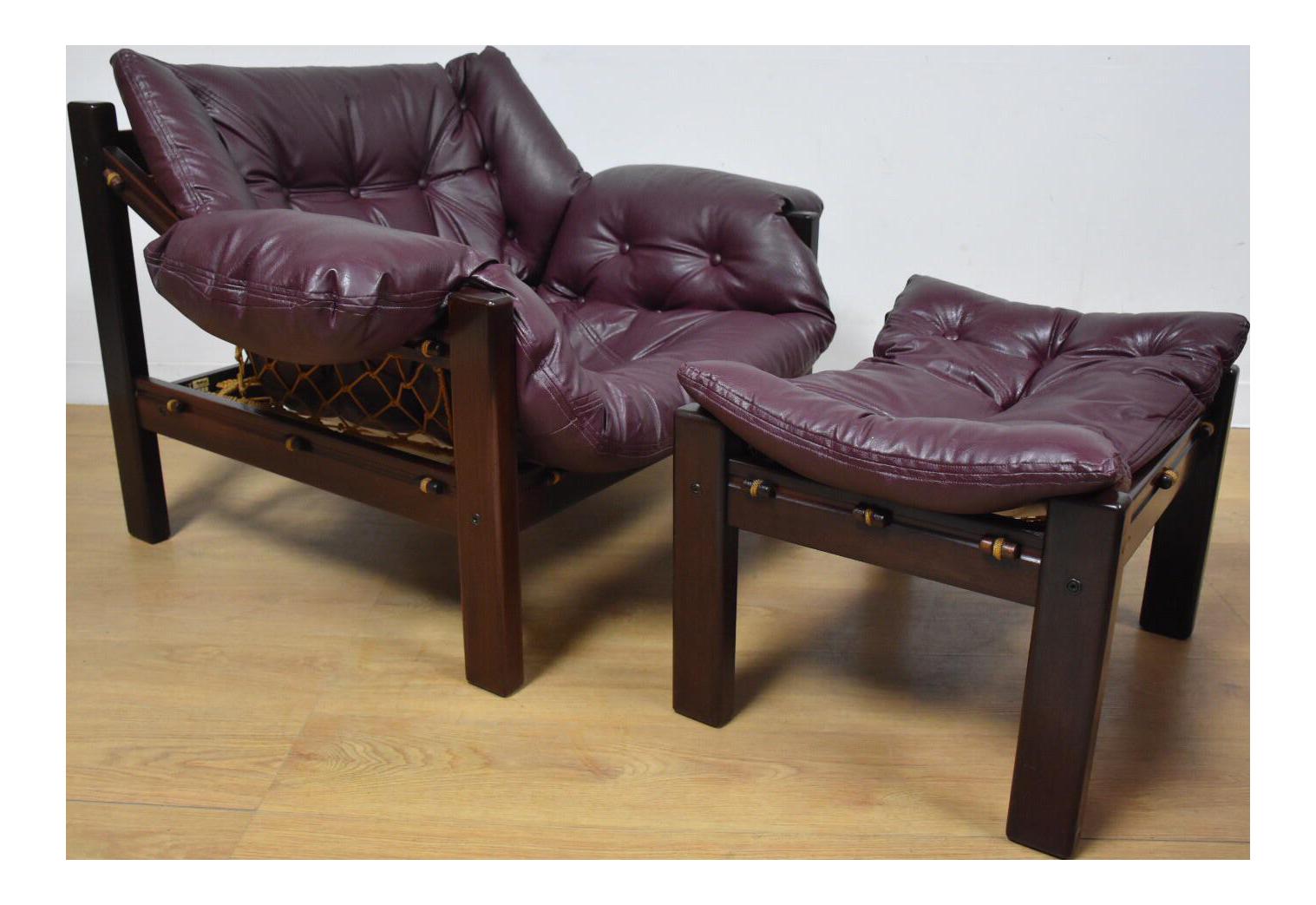 Jean Gillon Leather Lounge Chair U0026 Ottoman   Image 1 Of 11